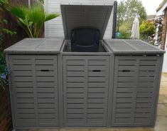 Wheelie Bin Store Top Quality Painted Free in your Colour Gas Strut Lid Opening - All About Gardens Bin Storage Ideas Wheelie, Triple Wheelie Bin Storage, Garbage Storage, Wall Storage, Storage Bins, Diy Storage, Storage Organization, Bin Store Garden, Box Garden