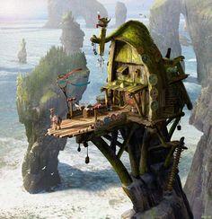 I love concept art. When I have a house of y own, I'm guna have a Movie concept art room. Fantasy House, Fantasy World, Environment Concept, Environment Design, Animation, Design Dragon, Level Design, Dragon House, Fantasy Concept Art