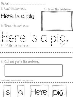 Reading and Printing Simple Sentences: Bundled Pack: parts 1-3