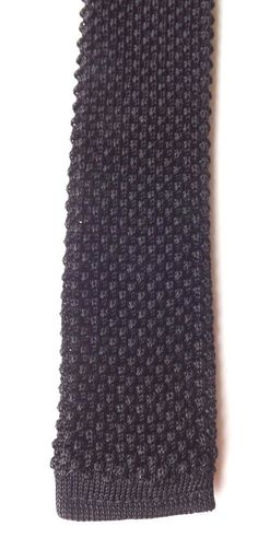 Vintage 1950s 1960s Knitted Skinny Neck Tie Black Terylene Mod Scooter FREE P&P #NeckTie