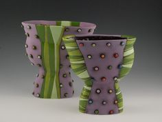 Purple Vase with Green Polka Dots by natalyasots on Etsy