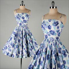 vintage purple floral cotton dress