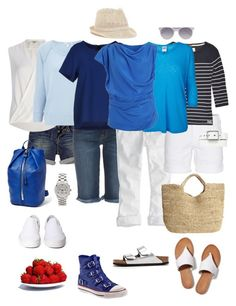 """""""Ensemble: Ultra Casual Blue & White"""" by youlookfab ❤ liked on Polyvore featuring Fat Face, Genetic Denim, American Eagle Outfitters, True Religion, River Island, James Perse, rag & bone, Superdry, Vero Moda and Vivienne Westwood Anglomania"""