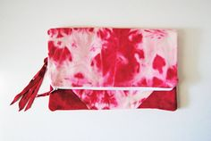 The Jennifer Fold Over Clutch in Red Hand by aperfectmessvintage, $40.00