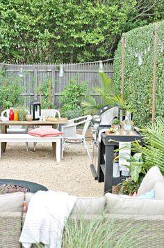 DIY Pea Gravel Patio-Hamptons Inspired Small Backyard