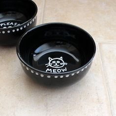 It's easy to decorate plain black pet bowls with a white porcelain marker. Instructions included.