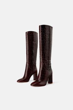 1d5cc6e1 Zdjęcie 1 KOZAKI NA OBCASIE W ZWIERZĘCY DESEŃ z Zara Crocs Boots, Leather  Heeled Boots