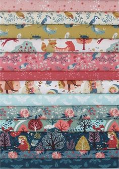 Teagan White for Birch Organic Fabrics, Acorn Trail in FAT QUARTERS 13 Total--Arya toddler bed quilt