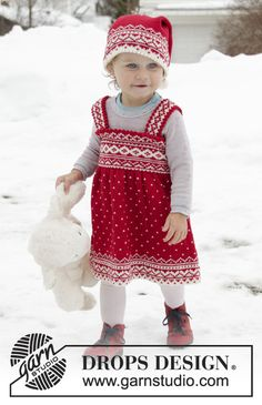 Miss Cookie - Knitted dress for babies and children in DROPS Baby Merino. The piece is worked top down with Nordic pattern. - Free pattern by DROPS Design Baby Knitting Patterns, Knitting For Kids, Free Knitting, Crochet Patterns, Drops Design, Girls Knitted Dress, Knit Baby Dress, Knitted Baby, Knit Crochet