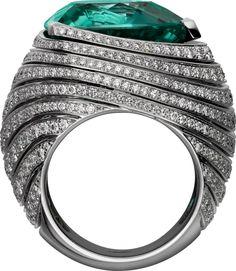 CARTIER. Ring - platinum, one 16.20-carat triangular-shaped blue-green tourmaline, black lacquer, brilliant-cut diamonds. #Cartier #ÉtourdissantCartier #2015 #HauteJoaillerie #HighJewellery #FineJewelry #Tourmaline #Diamond