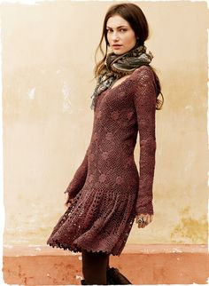 Crochet dress. Peruvian Connection.  dusty rose pima cotton. Styled with a drop waist, swingy flounced hem.