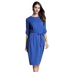 deb356bdcb9c Paskyee Women's Elegant 3/4 Sleeve Wear to Work Casual Pencil Dress Belt