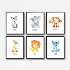Druckbare Dschungel Tiere Kinderzimmer Kunst Tiere