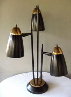 Awesome Vtg 1960's Mid Century Modern 3 Cone Bullet Black Table Lamp Space Age | eBay