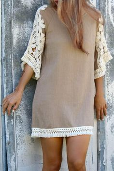 Stylish Scoop Neck 3/4 Sleeve Tassels Lace Splicing Dress For Women