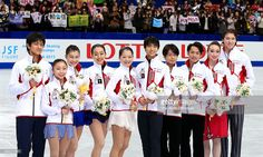 Sochi Olympic Japanese figure skaters Ryuichi Kihara, Narumi Takahashi, Kanako Murakami, Mao Asada, Akiko Suzuki, Yuzuru Hanyu, Tatsuki Machida, Daisuke Takahashi, Cathy Reed and Chris Reed pose after the 82nd All Japan Figure Skating Championships at Saitama Super Arena on December 23, 2013 in Saitama, Japan.