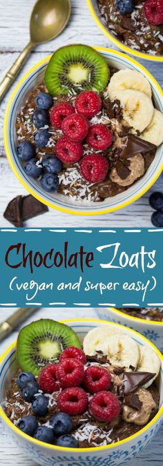 Are you looking for an easy, delicious, and healthy breakfast? Then these vegan chocolate zoats with berries and almond butter might be perfect for you!