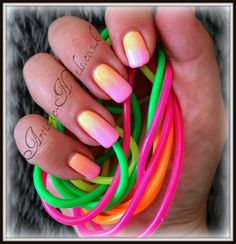 Neon Ombre Shellac, neon pigment powder is burnished into Shellac to give this beautiful effect . Ombre Shellac, Shellac Nails, Neon Nails, My Nails, Pigment Powder, Paws And Claws, Beauty Hacks, Beauty Stuff, Beauty Tips