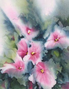 Framed Watercolor Painting Pink Flower van NancyKnightArt op Etsy