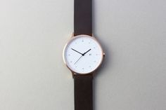 rose gold & brown leather minimal watch