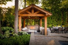 37 Stunning Gazebo Decorating To Make Your Backyard. Install an outdoor gazebo and revel in your backyard like you can't ever have before. If you think that your backyard is too open to curious onlookers. Outdoor Fireplace Patio, Outdoor Fireplace Designs, Backyard Fireplace, Cozy Backyard, Backyard Gazebo, Patio Roof, Fireplace Ideas, Slate Fireplace, Cottage Fireplace