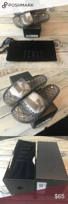 Puma Fenty by Rihanna black jelly sandals Sz  7.5 Brand new in box. Never used. Comes with velvet dust bag. Puma Fenty by Rihanna black jelly slides size 7.5 Puma Shoes Sandals