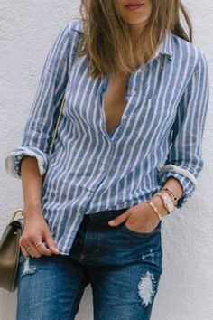 Chic Shirt Collar Long Sleeves Striped Women's Shirt Blouses | RoseGal.com Mobile