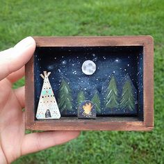 Starry Night Miniature Adventure Diorama // Camping // Miniature // Tipi // Teepee // Mini diorama