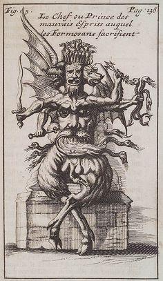 'A formosan evil spirit', George Salmanaazaar / demonio, demoniaco, devil Arte Horror, Horror Art, Gravure Illustration, Satanic Art, Esoteric Art, Arte Obscura, Occult Art, Angels And Demons, Evil Spirits
