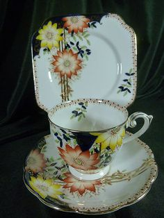 Deco Bell China Tea Cup and Saucer Trio H P Cone Flowers Gold Detailing Fab