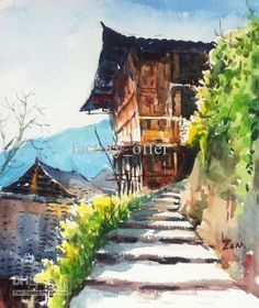 watercolor-on-site-painting-the-old-wooden.jpg (504×600)