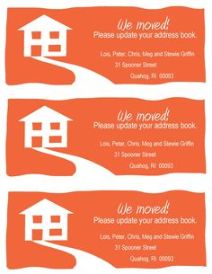 DIY:: Change-of-Address Cards ~  These are the size of a standard envelope. Three fit on a 8.5″ x 11″ piece of paper. Print at local Staples/Costco it will be less costly than using ink in your printer. There are 3 color choices; orange, blue, red and mint.    Downloads @: http://www.theexperimentalhome.com/weve-moved-super-simple-change-address-cards/