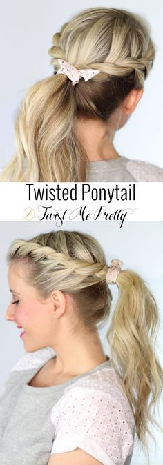 Get this gorgeous ponytail in five minutes or less!! Find the twisted ponytail tutorial at Twist Me Pretty |