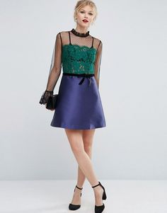 ASOS Petite | ASOS PETITE Pie Crust Neck Lace Mini Dress