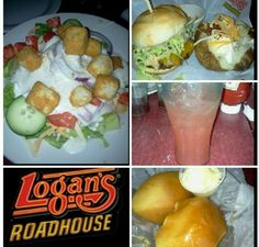 LOGAN'S ROADHOUSE - Garden Salad, Route 66 Cheeseburger, Loaded Baked Potato, Strawberry Lemonade, Rolls, Butter