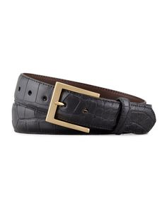 Matte Alligator Belt, Black; comes with both brass and silver tone (brushed) buckles.