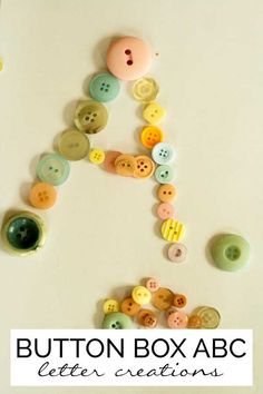 Use buttons to create letters to help young children to recognise the shapes and names of the letters as they build each letter themselves.
