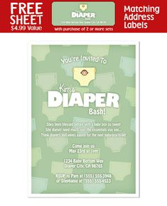 diapers and lotions shower | Details about 8 Diaper Party Shower INVITATIONS