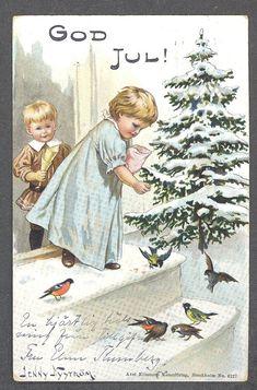 Julkort signerat Jenny Nyström. Barn matar fågl.. (379429830) ᐈ Köp på Tradera Christmas Cards, Barn, Painting, Christmas E Cards, Converted Barn, Painting Art, Barns, Paintings, Painted Canvas