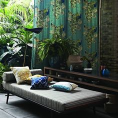 Green nature and beautiful of Jim Thompson, interior design // Ethnic Chic Thai Decor, Jim Thompson Fabric, Butterfly House, House Rooms, Living Rooms, Outdoor Fabric, Daybed, Elle Decor, Sweet Home