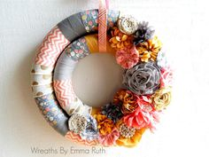 Double Fabric Wrapped Wreath with modern silver, gold, coral and mustard yellow embellishments