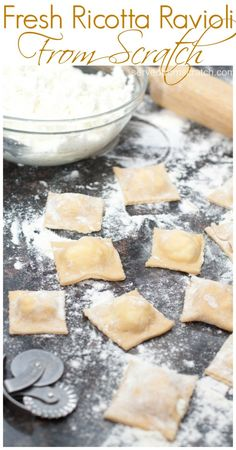 Fresh homemade ricotta cheese inside fresh rolled pasta for the most delicious Fresh Ricotta Ravioli you'll ever eat (Homemade Cheese Ravioli) Ravioli Filling, Ricotta Ravioli, Ravioli Lasagna, Homemade Cheese, Homemade Pasta, Homemade Ravioli Recipes, Homemade Breads, Pasta Recipes, Cooking Recipes