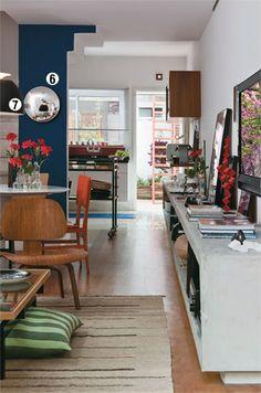 Bancada de concreto da sala a cozinha