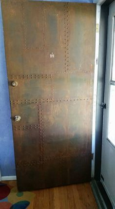 Metal Effects Patina on Front Door Project by Col Patina Metal, Industrial Door, Industrial Interiors, Modern Masters, Entrance Doors, Front Doors, Steel Doors, Door Design, Design Design