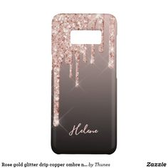Rose gold glitter drip copper ombre name girly Case-Mate samsung galaxy s8 case