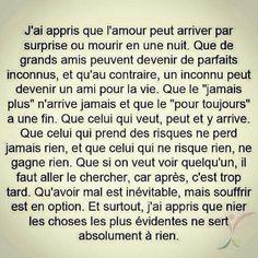 """"""" le """"jamais plus"""" n'arrive jamais et le """"pour toujours"""" a une fin. French Words, French Quotes, Words Quotes, Me Quotes, Sayings, Bien Dit, Quote Citation, Positive Mind, Some Words"""