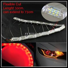 205.00$  Watch now - http://ali6qt.worldwells.pw/go.php?t=32773793435 - Red Amber Yellow Sequential LED strips Flexible Car LED DRL stripes LED Daytime Running Light with Turn Signal Lights DRL strips