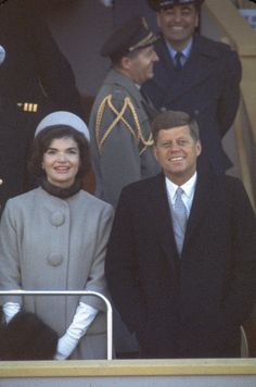 DISTRICT OF COLUMBIA, UNITED STATES - 1961:  President Kennedy (R) with First Lady Jackie (L) (in fur-trimmed suit designed by Oleg Cassini) at his inauguration.  (Photo by Leonard McCombe/Life Magazine/The LIFE Picture Collection/Getty Images)                                     via @AOL_Lifestyle Read more: http://www.aol.com/article/2016/03/15/jackie-kennedys-lookalike-granddaughter-rose-schlossberg-laun/21328144/?a_dgi=aolshare_pinterest#slide=3279805 fullscreen