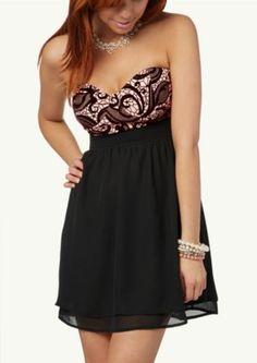 Flocked Lace Bustier Dress | Dressy | rue21
