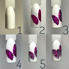 46 Outstanding Nail Art Tutorials Ideas That Youll Love - Nails Art - Nail Art Hacks, Nail Art Diy, Easy Nail Art, Cool Nail Art, Diy Nails, Manicure, Butterfly Nail Designs, Butterfly Nail Art, Nail Art Designs